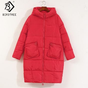 5 Color! Winter 2017 New Oversized Cotton Padded Coats Women Outwear Long Cute Causual Warm Hoodies Down Cocoon Parkas C79510A