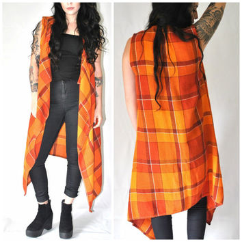 long SLEEVELESS jacket retro 1970s orange PLAID wool handmade autumnal long vest os
