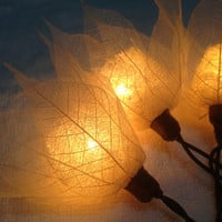 20x White Leaves With Dry Gourd Fairy String Lights Wedding Party Home Decoration,Indoor string lights.bedroom string lights