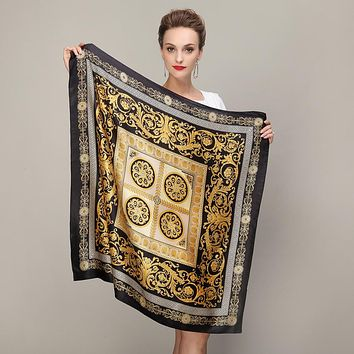 Black Gold Square Scarves Fashion Ladies Pure Silk Scarf Shawl Autumn Winter Mulberry Silk Scarves