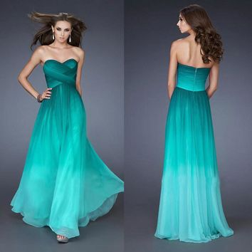New Design Ombre Dark Green Chiffon Prom Dresses 2016 Strapless A-line Sweetheart Long Bridesmaid Dresses