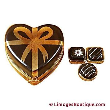 CHOCOLATE HEART W/GOLD BOW CANDY LIMOGES BOXES