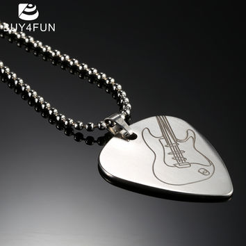 High Quality Guitar Pick Necklace with 50cm/20in Ball Chain Silver Color Stainless Steel Guitar Parts and Accessories