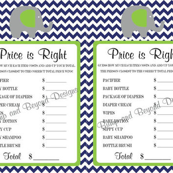The Price Is Right Baby Shower Game Elephant Theme Navy Blue Lime Green Baby Boy Shower Printable Party DIY Instant Download - 012