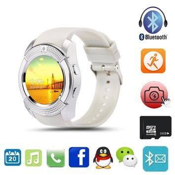Multifunction Bluetooth Digital Smart Watch For Men Women V8 With SIM TF Card Sync HD IPS Screen Wrist Clock For IOS Android