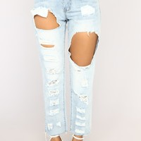 He's Not My Boyfriend Jeans - Light Blue Wash