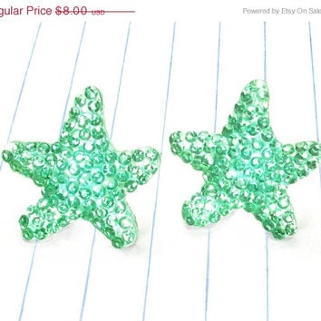 ON SALE sparkly mint starfish earrings - starfish earrings - starfish studs - starfish jewelry - mint earrings - mint studs - mint jewelry
