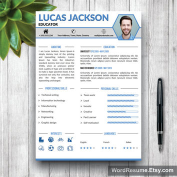 Creative Professional Resume Template / CV Template + Cover Letter And Portfolio  Word (US Letter  Portfolio Word Template