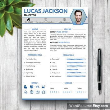 Creative Professional Resume Template / CV Template + Cover Letter and Portfolio Word (US Letter, A4) Modern Resume Design, Instant Download