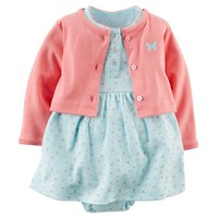 Carter's Floral Bodysuit Dress & Cardigan Set - Baby Girl, Size: