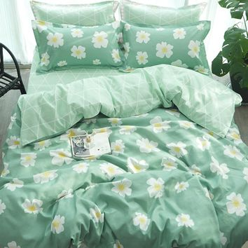 4Pcs Flower Print Duvet Cover Set -SheIn(Sheinside)