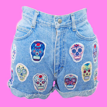 Up Cycled High Waisted Denim Shorts with Day of the Dead • Skull s • High Rise Waist Button Down • Small • levis • cutoffs