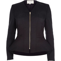 River Island Womens Black jacquard peplum jacket