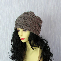 Women knit slouchy - Slouch Beanie -Barley Brown Tweed Hat - Chunky Knit Winter Fall Accessories Knit Cable hat