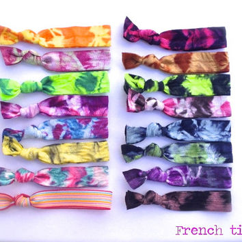 Pick 4 Cute Tie Dye Hair ties (French Ties) Hippie Tie Dye and Neon, Stripes, rainbow, colors, summer, brights, pastel