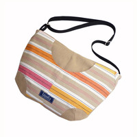 Striped pattern beige purse
