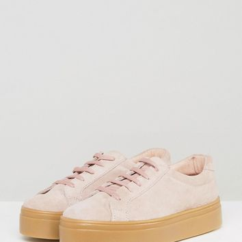 ASOS DAY LIGHT Wide Fit Suede Flatform Lace Up Sneakers at asos.com