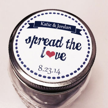 "Spread the Love Wedding or Shower Labels Navy Blue; Assorted Designs Available - Mason Jar 2 or 2.5"" round labels"