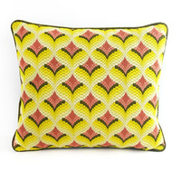 1960s, 70s Bargello Pillow / Handmade With Sunny Yellow Pattern / Vintage Collectible Home Decor / Geometric Repeating Pattern