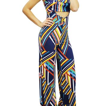 Multi Color Bandeau Tube Top and Wide Leg Overall Pants Set