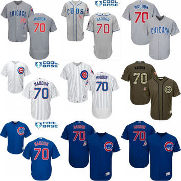 2016 World Series Champions patch Men's Chicago Cubs #70 Joe Maddon Cool Base Flexbase Authentic Collection Jersey stitched