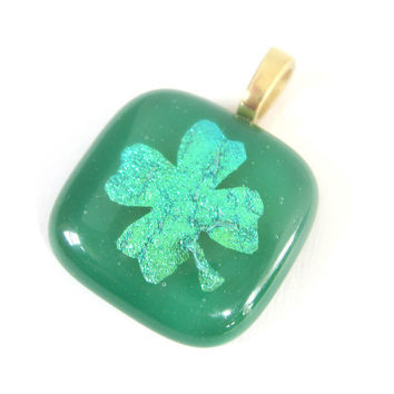 Green Fused Glass Pendant - Four leaf clover, Lucky Charm by mysassyglass