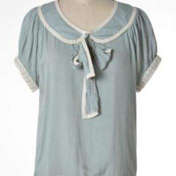 Good Girl Charm Peter Pan Collar Tieneck Blouse in Mint by Comme Toi | Sincerely Sweet Boutique