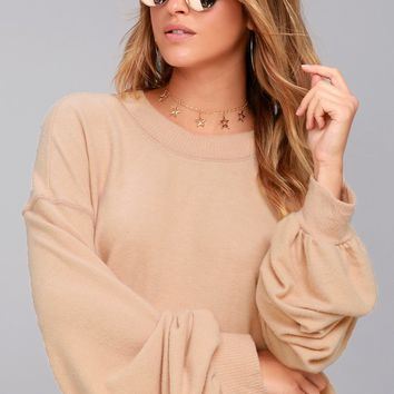 Free People TGIF Blush Sweatshirt