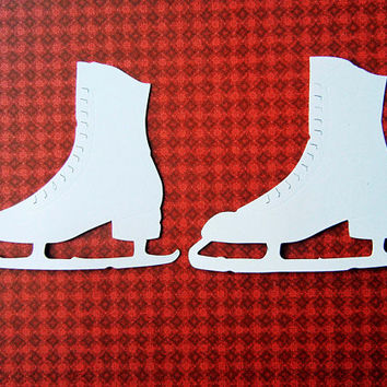 Ice Skates, Cut from White Card Stock, Count of 12, Card Making Supplies, Scrapbooking, Embellishments. Party Supplies