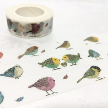 little birds washi masking tape 10M water color bird colorful bird fat bird Garden bird deco tape sticker bird decor cute planner tape gift