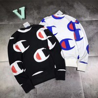 Retro Vintage Champion Logo Unisex Lover's Loose Sweater Pullover