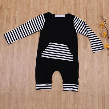Newborn Baby Boys Striped Pocket Long Sleeve Romper Children Christmas Casual Cotton Clothes Jumpsuit Outfits