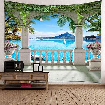 Beautiful 3D Sea View Tapestry Home Decoration - W230 X L180cm