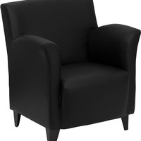 Roman Series Black Leather Reception Chair