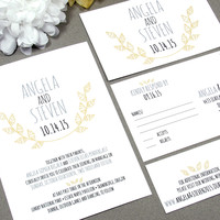 Leaf Laurel Rustic Wedding Invitation Set by RunkPock Designs / Modern Handwritten Leaves Monogram Suite shown in gray / yellow / black