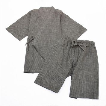 Japanese cotton kimono pajama suits Summer short sleeve pyjamas set Sleepwear Robe and shorts Traditional Home Lounge Sleepwear