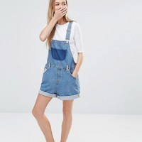 Monki Denim Patch Pocket Dungaree Playsuit at asos.com