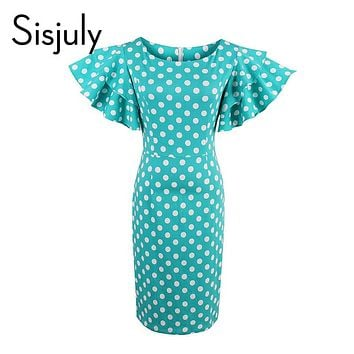 Women Bodycon Dress Petal Sleeve Cute Dot Dress Female Sheath Pin Up Dress Natural Round Neck Slim Sexy Dresses