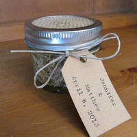 rustic mason jar birdseed wedding favor, 6 jars