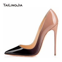 Women High Heel Pumps 2017 Kate Shoes Extremly High Heels Black Nude Patent Basic Women Court Shoes Mirror Leather Stilettos