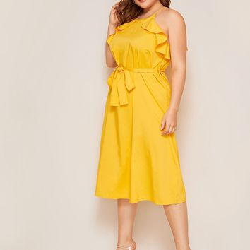 Plus Ruffle Trim Sleeveless Belted Midi Dress