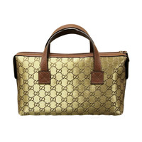 GUCCI GG Canvas Boston Bag Bowling bag Handbag Gold