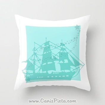 Nautical Ship Stars Throw Pillow 16x16 Decorative Cover Mint Aqua Turquoise Teal Sea Ocean Boat Pirate Water Nursery Room Gift Night Baby