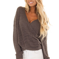 Charcoal Long Sleeve Knit Sweater with Draped Crossed Front