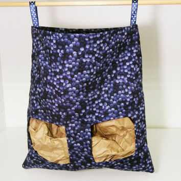 Rabbit Feed Bag, Guinea Pig Hay Sack - Navy Blueberries