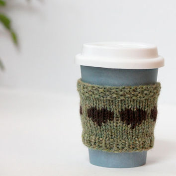 Wool Cup Sleeve, Knit Coffee Cozy, Green Cup Cozy, Green Gift, Coffee Sleeve Hearts, Reusable Cup Sleeve
