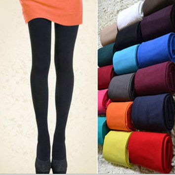 Women's Sexy Footed Thick Opaque Warm Pantyhose Stretch 120 Denier Long Soft Autumn Winter Nylon Tights Candy Color Stockings