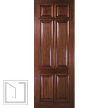 Pre-hung Entry Single Door 96 Wood Mahogany 6 Panel Solid
