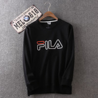 Men's Black FILA Print Long Sleeve Round Neck Sweatershirt Pullover