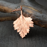 real leaf necklace botanical jewelry copper electroformed pendant nature jewelry gift for her electroplated jewelry